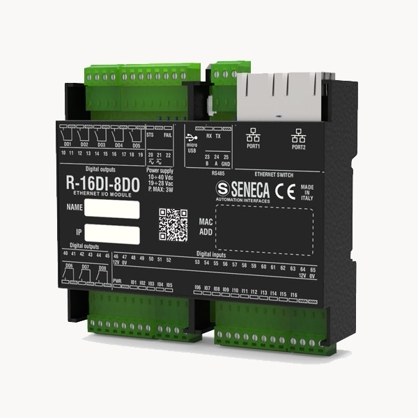 SENECA R16DI-8DO I/O modulis ar 2x Ethernet portiem-0