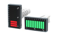 Bar Graph Display. RED & GREEN change color. Input: 4-20 mA or 0-10V. Output: NPN transistor up to 200 mA. Panel mountable, Standard size - 22,5mm