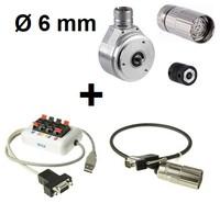 Enkodera starta komplekts: Enkoders  DFS60B-S1PA10000 (1036755) + Sajūgs KUP-0606-S (2056406) + M23 konektors DOS-2312-G (6027538) + Programmators PGT-08-S (1036616) + savienojuma kabelis DSL-3D08-G0M5AC3 (2046580)